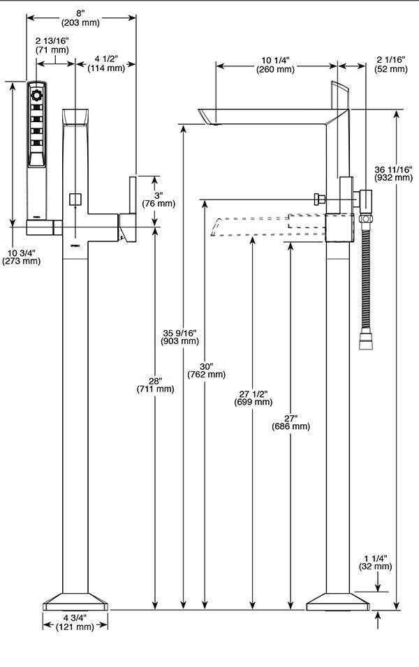 Single Handle Floor Mount Tub Filler T70188 PC Vettis