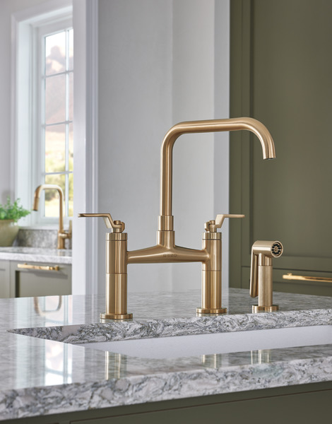Bridge Faucet with Square Spout and Industrial Handle : 62554LF-GL ...