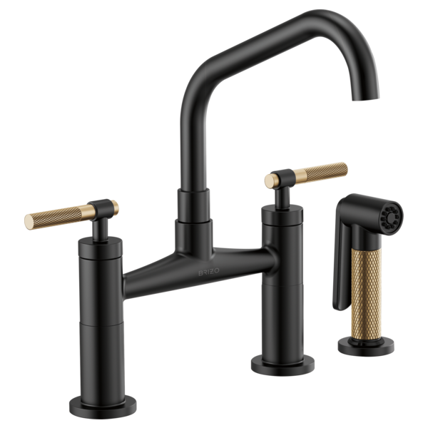 Bridge Faucet with Angled Spout and Knurled Handle : 62563LF-BLGL ...
