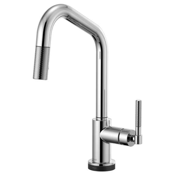 smarttouch pulldown faucet with angled spout and knurled handle